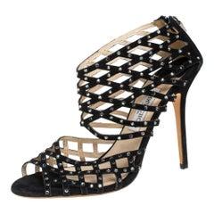 Jimmy Choo Black Suede Crystal Embellished Strappy Sandals Size 40