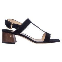 JIMMY CHOO black suede JIN T-Strap Slingback Shoes 37.5