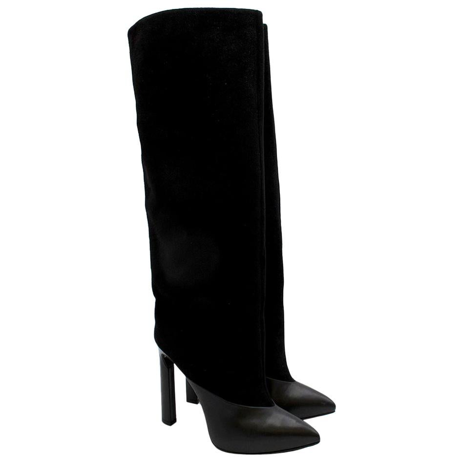 Jimmy Choo Black Suede & Leather Tall Boots - Size EU 38