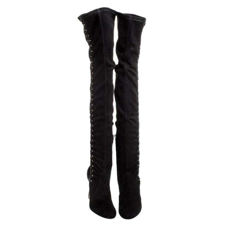 Jimmy Choo Black Suede Marie Over the Knee Boots Size 38 In Excellent Condition For Sale In Dubai, Al Qouz 2