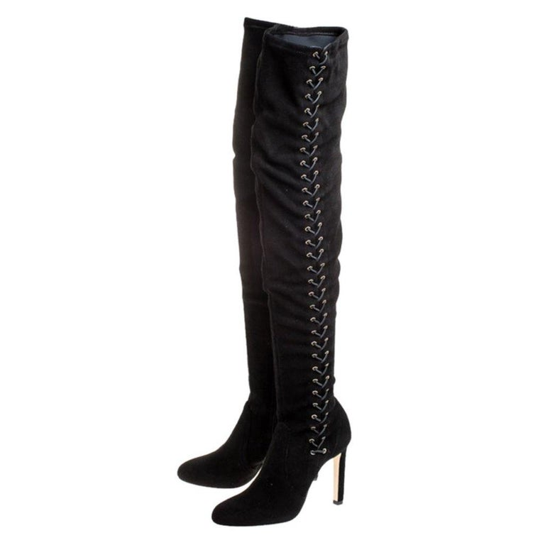 Women's Jimmy Choo Black Suede Marie Over the Knee Boots Size 38 For Sale