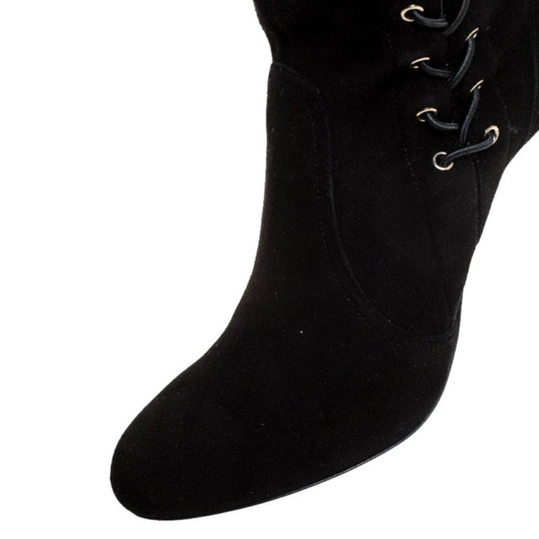 Jimmy Choo Black Suede Marie Over the Knee Boots Size 38 For Sale 3