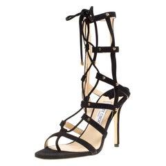 Jimmy Choo Black Suede Meddle Lace Up Gladiator Sandals Size 39.5
