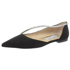 Jimmy Choo Black Suede Trude Crystal Embellished Pointed Toe Flats Size 39