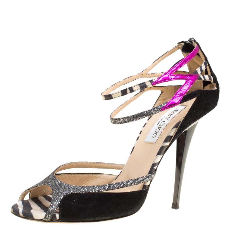 b1d2cf48ba53 Jimmy Choo Black Suede Lamè Glitter Fabric Zebra Mix Ankle Strap Sandals  Size 39 For Sale at 1stdibs