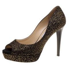 Jimmy Choo Black Textured Suede Dahlia Platform Peep Toe Pumps Size 41