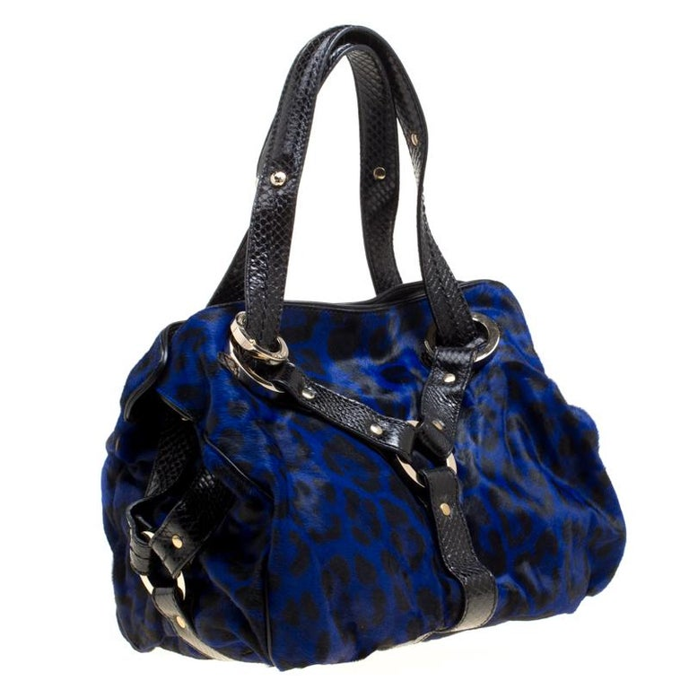 1ad7934cc4b1 Jimmy Choo Blue/Black Leopard Print Calfhair and Leather Large Odette Bag  In Excellent Condition