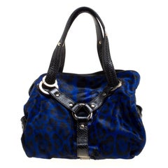 Jimmy Choo Blue/Black Leopard Print Calfhair and Leather Large Odette Bag