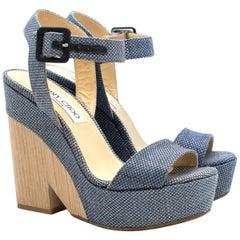 Jimmy Choo Blue Fine Raffia Nico 125 Wedge Sandals Size 35