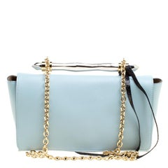 Jimmy Choo Blue Leather Flap Shoulder Bag