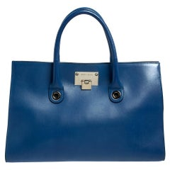 Jimmy Choo Blue Leather Riley Tote