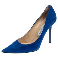 Jimmy Choo Blue Suede Abel Pointed Toe Pumps Size 39.5