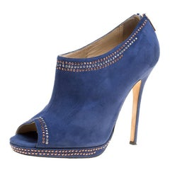 Jimmy Choo Blue Suede Glint Stud Trim Peep Toe Ankle Booties Size 39