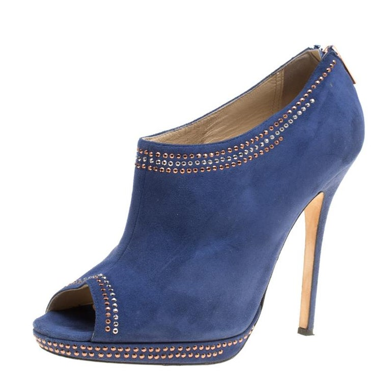 d05f180c3cfe Jimmy Choo Blue Suede Glint Stud Trim Peep Toe Ankle Booties Size 39 For  Sale