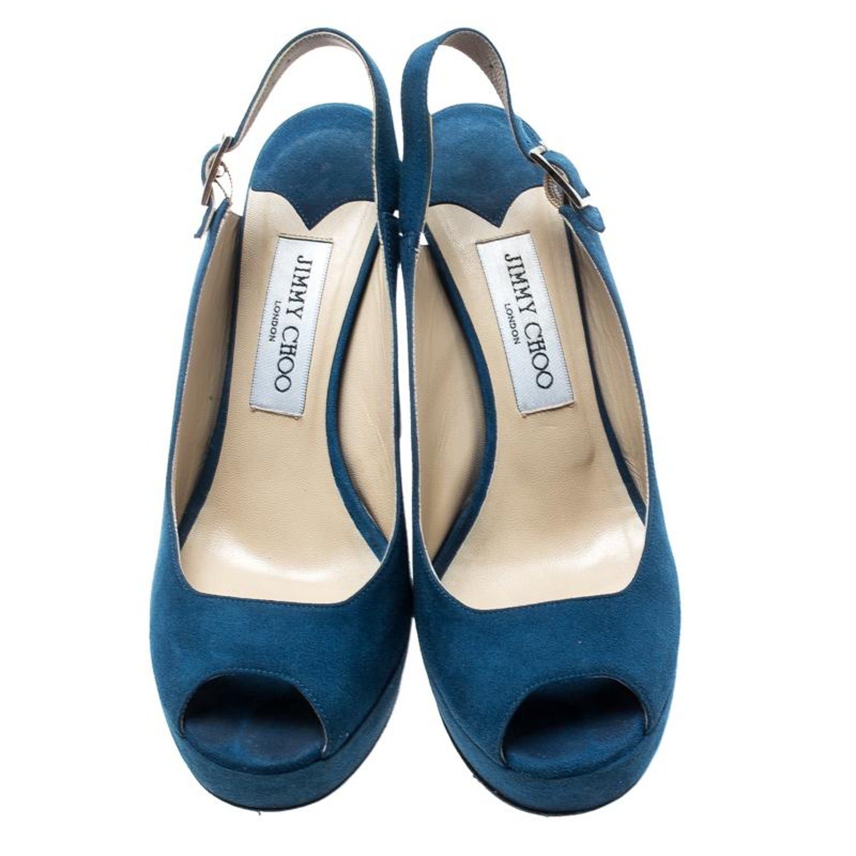 b6af478b93 Jimmy Choo Blue Suede Lexy Platform Slingback Sandals Size 37.5 For Sale at  1stdibs