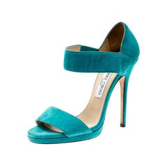 Jimmy Choo Blue Suede Open Toe Ankle Strap Sandals Size 38