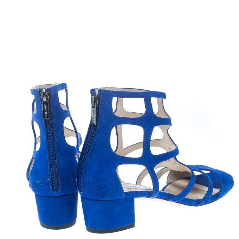 c6f0e3ccfef Jimmy Choo Blue Suede Ren 35 Caged Block Heel Sandals Size 40 at 1stdibs