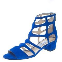 Jimmy Choo Blaues Wildleder Ren 35 eingesperrte Blockabsatz Sandalen Größe 40