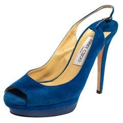 Jimmy Choo Blue Suede Slingback Sandals Size 39
