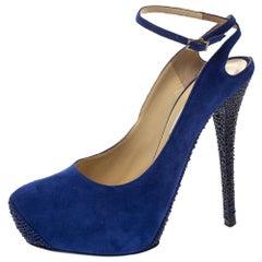 Jimmy Choo Blue Suede Swarovski Crystal Ankle Strap Platform Pumps Size 39