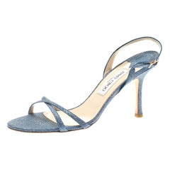 Jimmy Choo Blue Textured Leather Strap Slingback Open Toe Sandals Size 39.5
