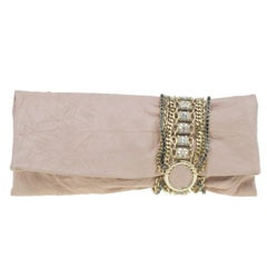 Jimmy Choo Blush Pink Distressed Leather Embellished Chandra Clutch