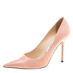 Jimmy Choo Blush Pink Elaphe Leather Abel Pointed Toe Pumps Size 36