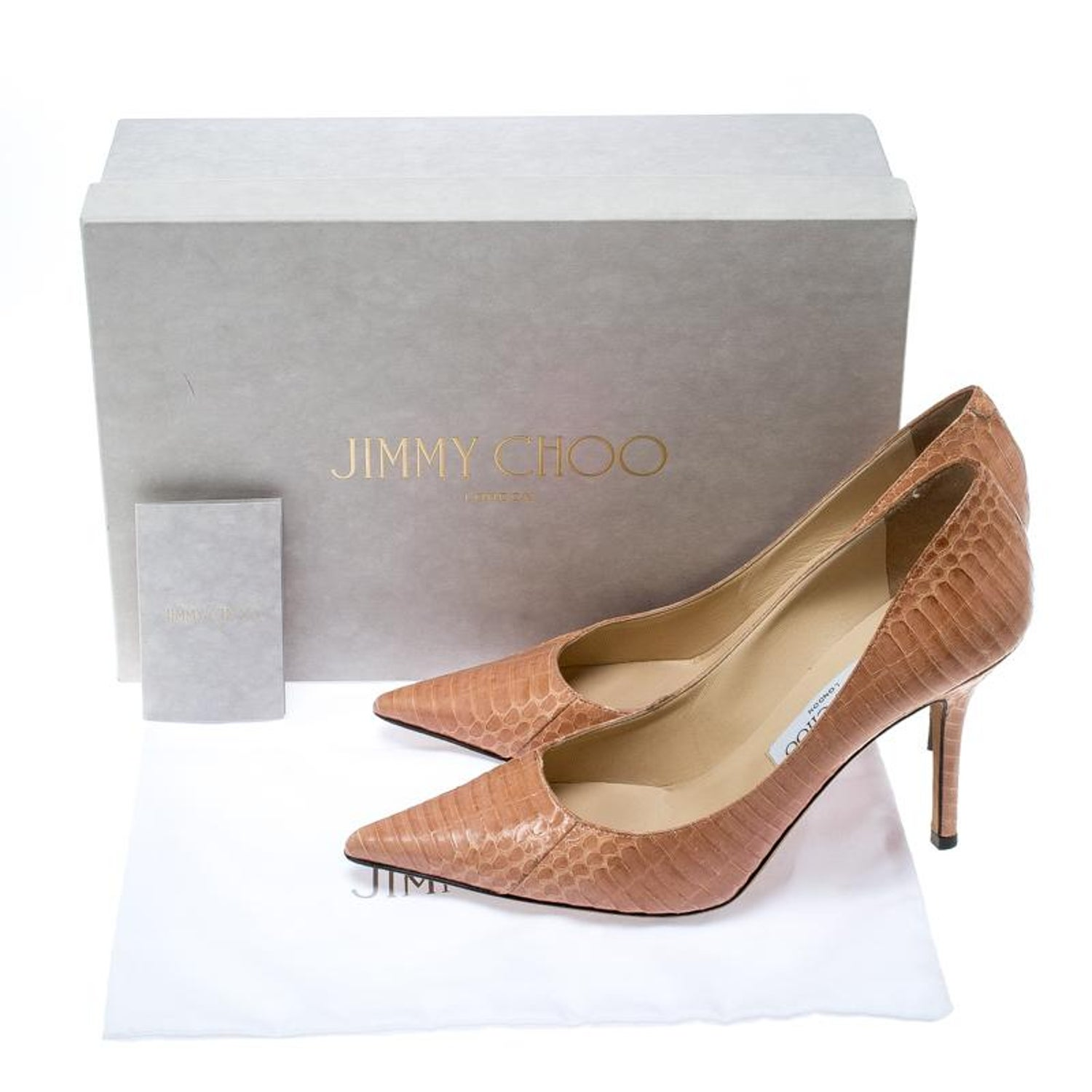 a6ae20c11b9 Jimmy Choo Blush Pink Elaphe Leather Agnes Pointed Toe Pumps Size 37 For  Sale at 1stdibs