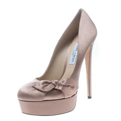 Jimmy Choo Blush Pink Satin Kenedy Platform Pumps Size 40