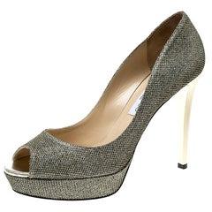 Jimmy Choo Bronze Lamè Glitter Fabric Dahlia Peep Toe Platform Pumps Size 41