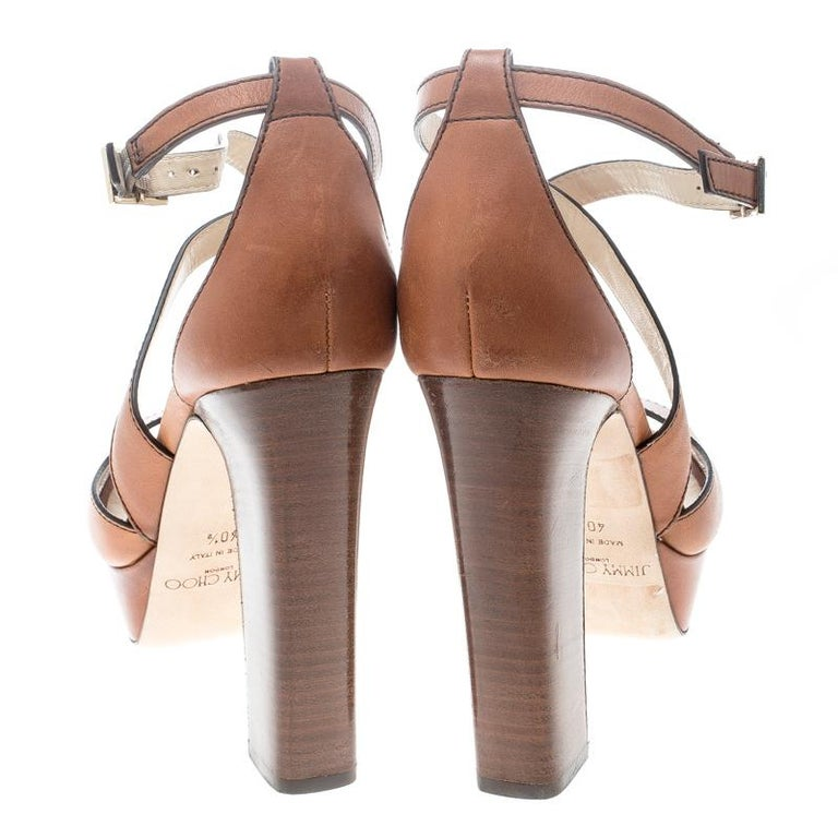 Jimmy Choo Brown Leather April Cross Strap Platform Block Heel Sandals Size 40.5 In New Condition For Sale In Dubai, AE