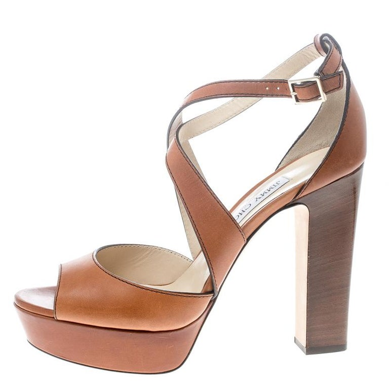 Jimmy Choo Brown Leather April Cross Strap Platform Block Heel Sandals Size 40.5 For Sale 3