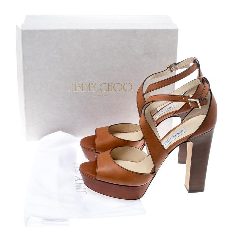 Jimmy Choo Brown Leather April Cross Strap Platform Block Heel Sandals Size 40.5 For Sale 4