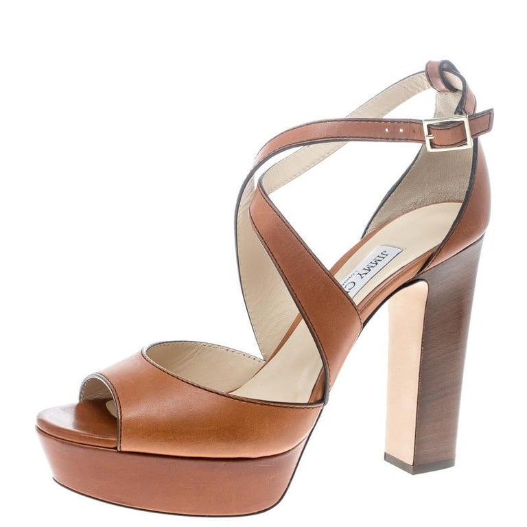 Jimmy Choo Brown Leather April Cross Strap Platform Block Heel Sandals Size 40.5 For Sale
