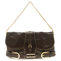 Jimmy Choo Brown Leather Gold Trim Tulita Shoulder Bag