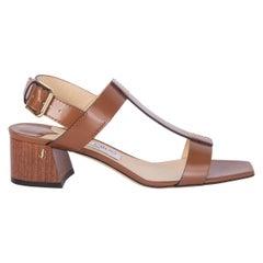 JIMMY CHOO brown leather JIN T-Strap Slingback Shoes 37.5