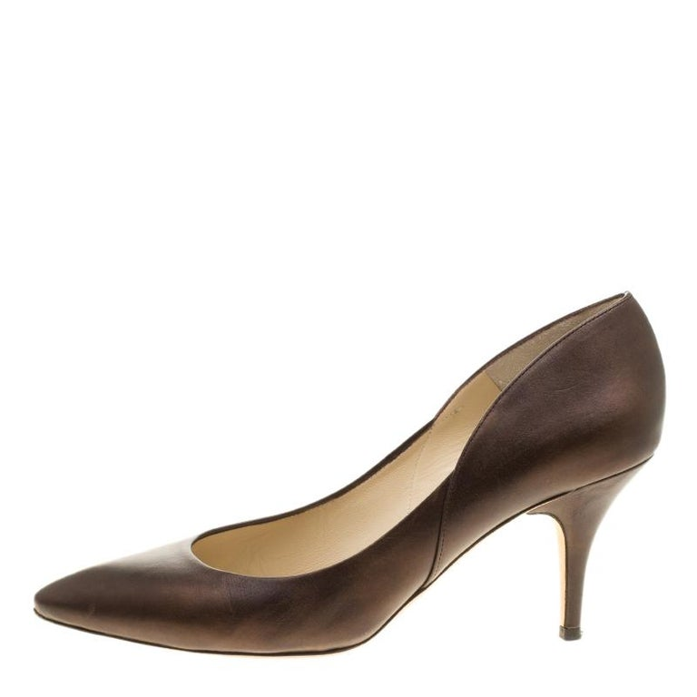 Jimmy Choo Brown Leather Pointed Toe Pumps Size 39 For Sale 1
