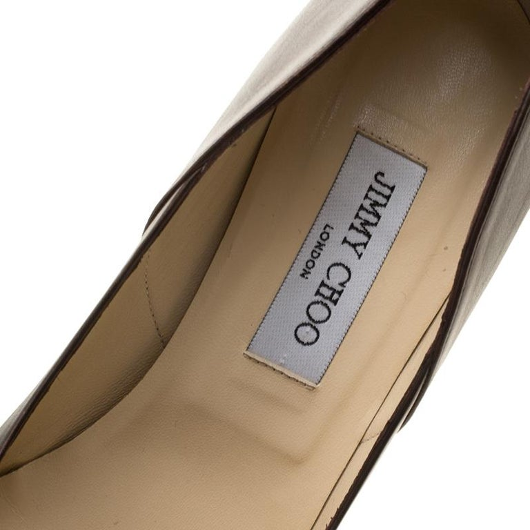 Jimmy Choo Brown Leather Pointed Toe Pumps Size 39 For Sale 2
