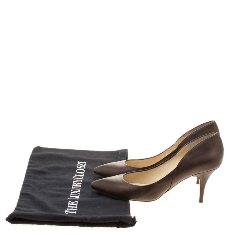 Jimmy Choo Brown Leather Pointed Toe Pumps Size 39 For Sale 4