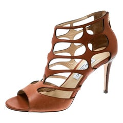 Jimmy Choo Brown Leather Ren Cut Out Peep Toe Sandals Size 40