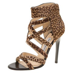 Jimmy Choo Brown Leopard Print Calf Hair Jewel Cage Sandals Size 39