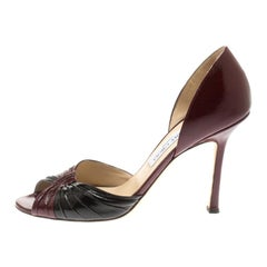 Jimmy Choo Burgundy And Black Patent Leather Ruched D'orsay Peep Toe Pumps Size