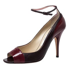 Jimmy Choo Burgundy Leather And Patent Leather Peep Toe Ankle Strap Pumps Size39