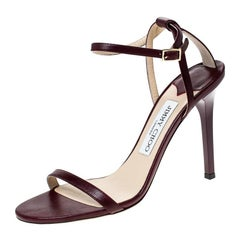 Jimmy Choo Burgundy Leather Minny Ankle Strap Sandals Size 38