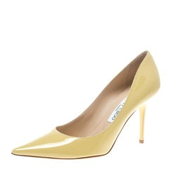 Jimmy Choo Butter Yellow Patent Leather Anouk Pointed Toe Pumps Size 38