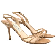 Jimmy Choo Camel Kid Leather Sandals SIZE 41.5
