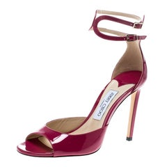 Jimmy Choo Cerise Pink Patent Leather Lane Ankle Strap Peep Toe Sandals Size 40