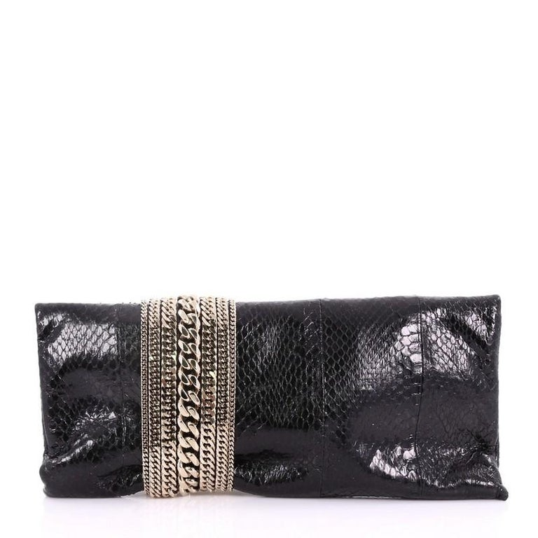 Jimmy Choo Chandra Chain Clutch Snakeskin In Good Condition For Sale In New York, NY