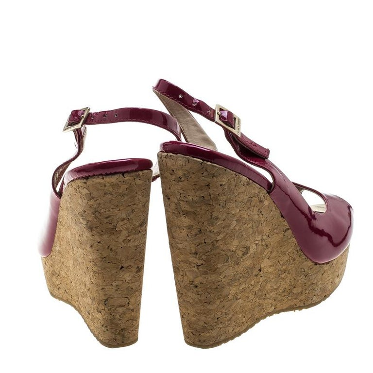 8fb98fec5c3 Brown Jimmy Choo Cherry Red Patent Leather Prova Cork Wedge Slingback  Sandals Size 40 For Sale