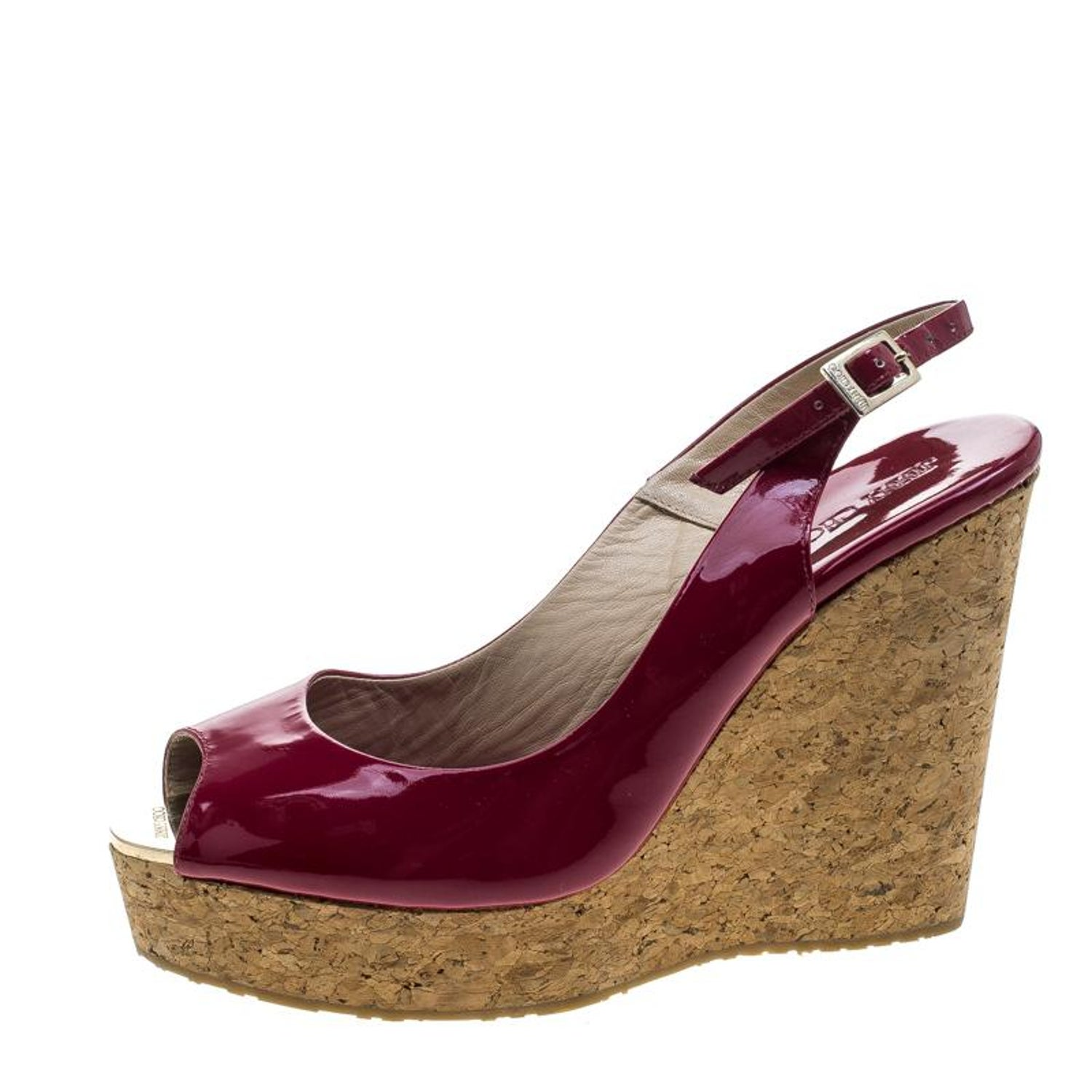 eda0addd21a Jimmy Choo Cherry Red Patent Leather Prova Cork Wedge Slingback Sandals  Size 40 For Sale at 1stdibs